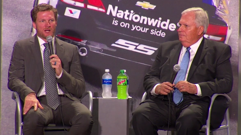 Earnhardt and Hendrick during today's announcement. Screencap via Hendrick Motorsports.