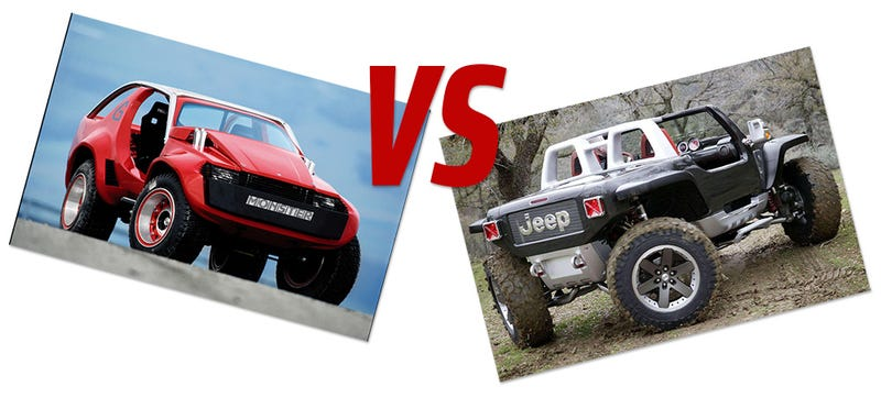 Illustration for article titled Concept Car Face-Off: Sbarro Monster G Vs. Jeep Hurricane