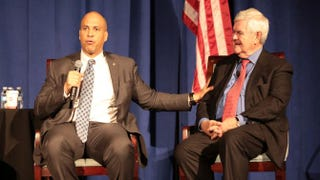 Sen. Cory Booker (D-N.J.) and former House Speaker Newt Gingrich at the Bipartisan Summit on Criminal Justice Reform in Washington, D.C., March 26, 2015Eric Hill