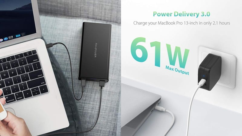 USB C Power Delivery Charger, RAVPower 61W Type C PD 3.0 Power Adapter | $28 | Amazon | Clip the $2 couponUSB C Portable Charger RAVPower 20100mAh PD 3.0 45W Power Delivery Power Bank | $46 | Amazon | Clip the $4 coupon