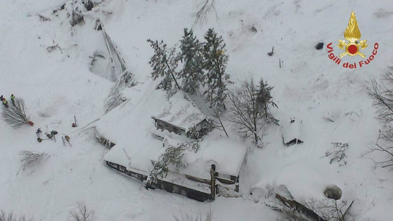 An aerial view of the Rigopiano Hotel hit by an avalanche in Farindola, Italy, early Thursday, Jan. 19, 2017. (Image: Italian Firefighters via Associated Press)