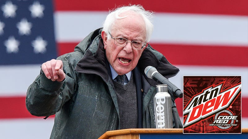 Illustration for article titled Major Pivot: Bernie Sanders Has Become Staunchly Capitalist After Tasting Mountain Dew Code Red And Learning It Was Made By A Corporation