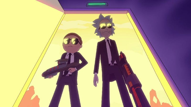 Rick and Morty dressed to the nines and packing some heat.