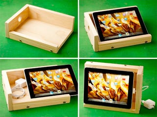 Illustration for article titled Wooden iPad Stand Amplifies Audio and Mocks Your DIY Skills