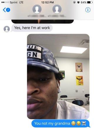 """Part of text exchange between Jamal Hinton and """"Grandma"""" WandaTwitter"""