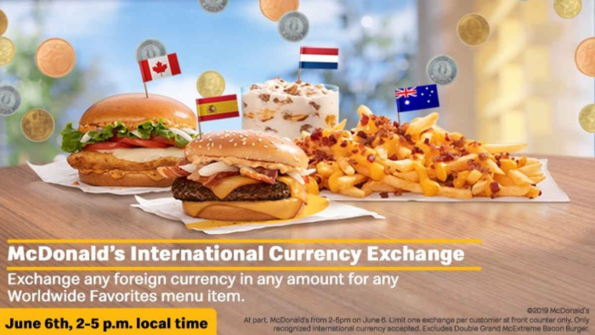 McDonald's will take your foreign currency loose change and give you