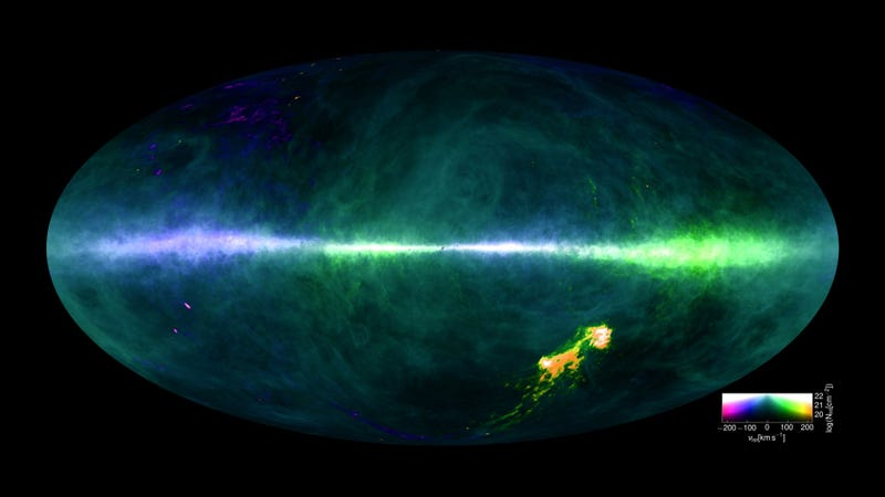 The HI4PI map. The colors reflect the approaching (purple/blue) and receding (orange/green) hydrogen gas velocities relative to Earth, while the brightness corresponds to the amount. The plane of the Milky Way runs horizontally across the middle, and the splotches at the lower right are the Magellanic Clouds. (Image credit: Benjamin Winkel and the HI4PI collaboration)