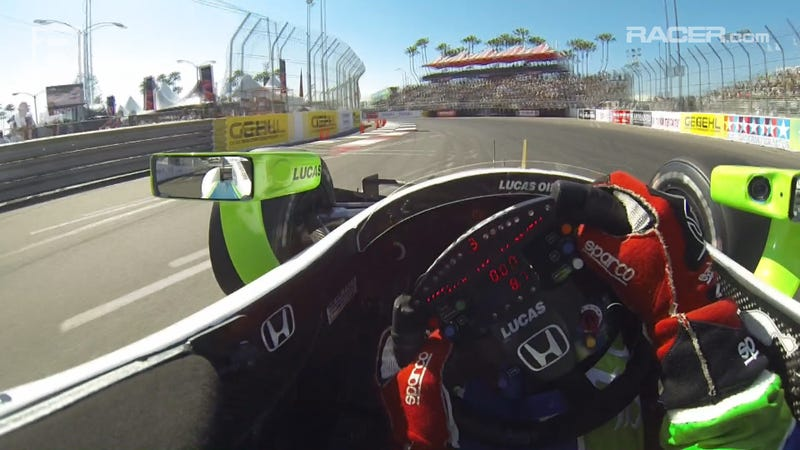 Illustration for article titled Simon Pagenaud IndyCar Long Beach Visor Cam