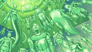 Illustration for article titled In this preview of Green Lantern Corps, see what a Green Lantern's funeral looks like
