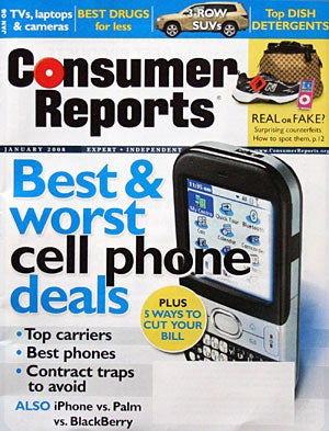 Illustration for article titled Consumer Reports  Cellphone Service Survey 2008 Published: Verizon Number One