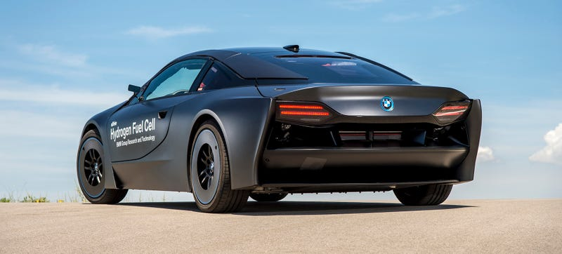 Illustration for article titled BMW's Hydrogen-Powered i8 Prototype Looks Like Robocop's Dream Ride