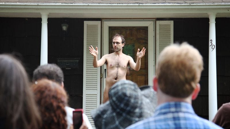 Fully nude man David Ronzo expounds at length on life's frailty.