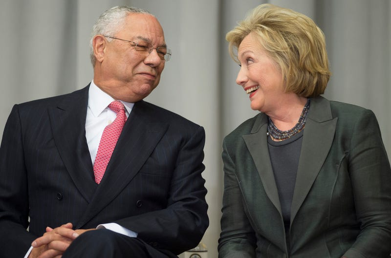 Former U.S. Secretaries of State Colin Powell and Hillary Clinton in 2014Jim Watson/AFP/Getty Images