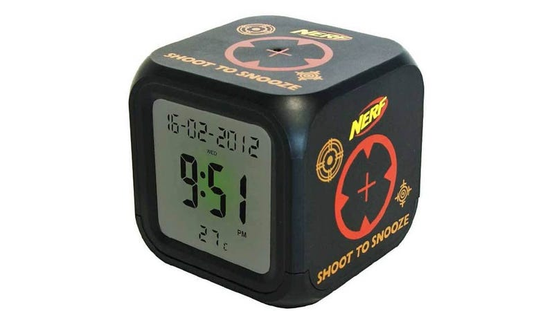 Illustration for article titled Dart Silenced Alarm Clock Is A Great Excuse To Sleep With a Nerf Gun Under Your Pillow