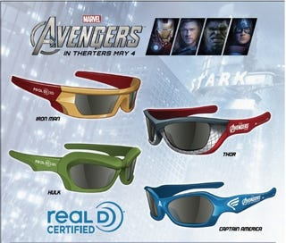 Illustration for article titled The Avengers 3D Glasses