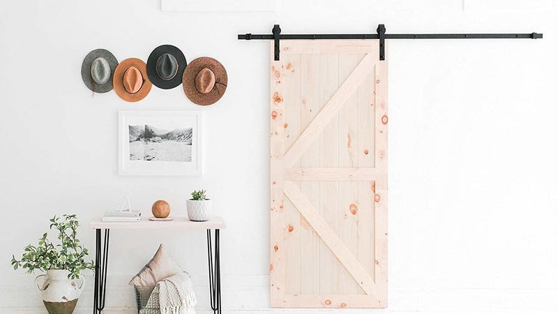 Industrial By Design 8ft Sliding Barn Door Hardware Kit | $70 | Amazon