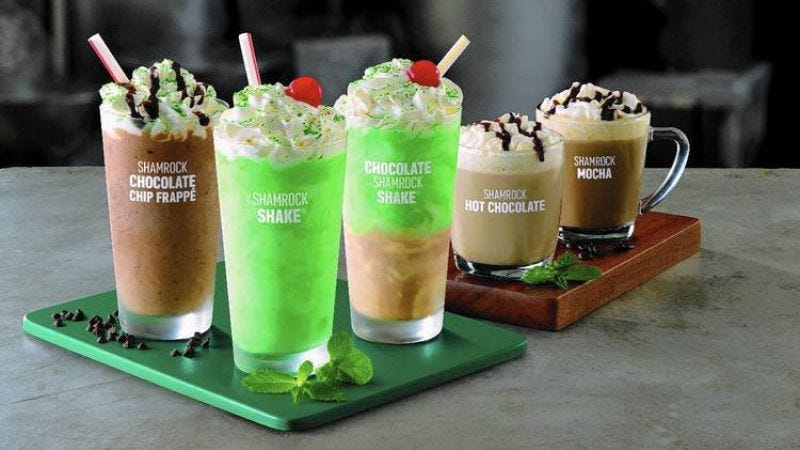 Illustration for article titled McDonald's shakes things up with an expanded Shamrock menu