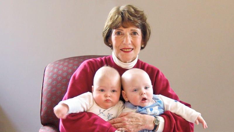 Rowdy Grandma Double-Fisting Grandchildren