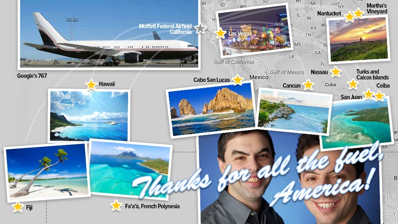 Illustration for article titled All the holiday paradises visited by Google execs using your tax money