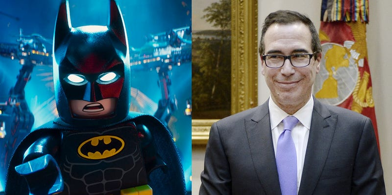 Screenshot from the movie Lego Batman (left) Steven Mnuchin (right, photo by Getty Images)