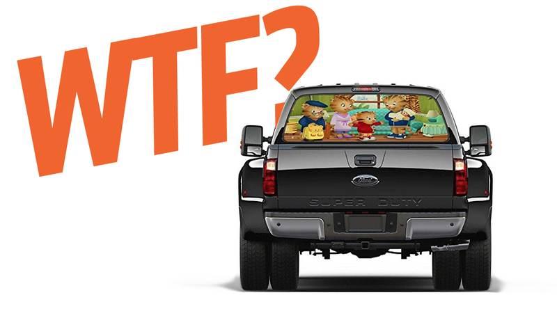 Illustration for article titled I Just Want To Know Who The Hell Is Buying These Truck Window Decals Of Pizza And Kid's Shows