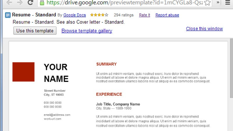 google document resume template