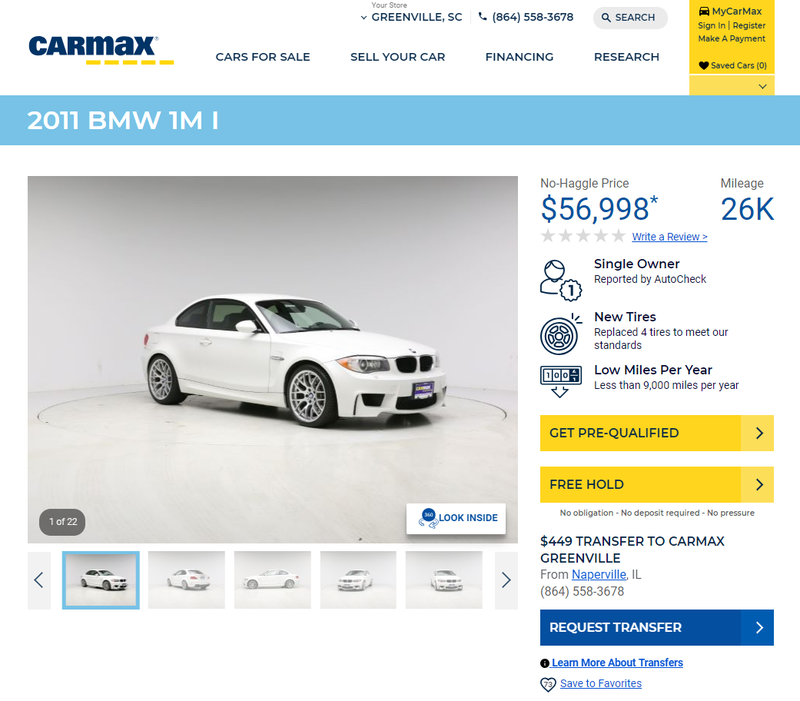 Illustration for article titled Wait, so you're telling me you can own a 1M and get a carmax warranty with it?