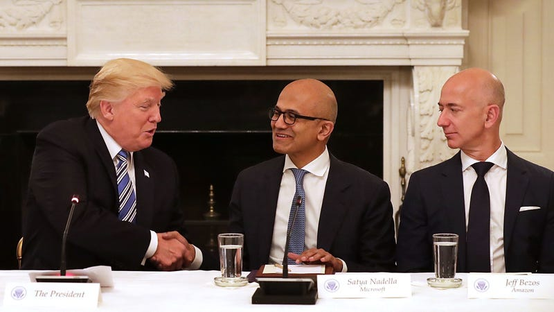 Microsoft Satya Nadella meeting with the president nearly one year ago to the day.