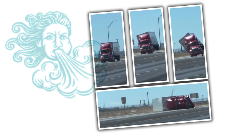 Illustration for article titled Watch a Semi Truck Get Knocked Over by Wind Because Nature Is Sick of Our Shit