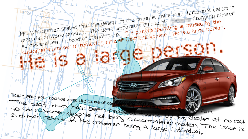 Illustration for article titled Hyundai Is Refusing A Warranty Fix On A Man's Car Because They Say He's 'Large'