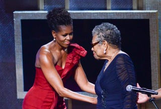 Michelle Obama and Maya Angelou speak during the BET Honors 2012 at the Warner Theatre on January 14, 2012 in Washington, D.C.Kris Connor/Getty Images