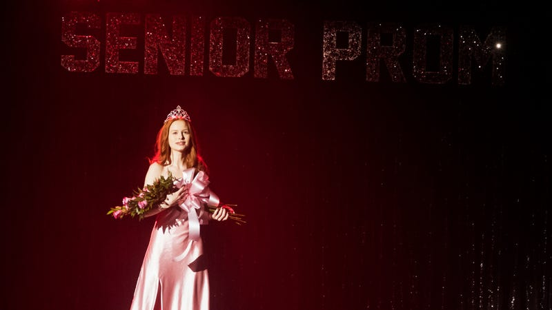 Cheryl Blossom (Madelaine Petsch) in the classic Carrie get-up for Riverdale's outstanding musical episode.
