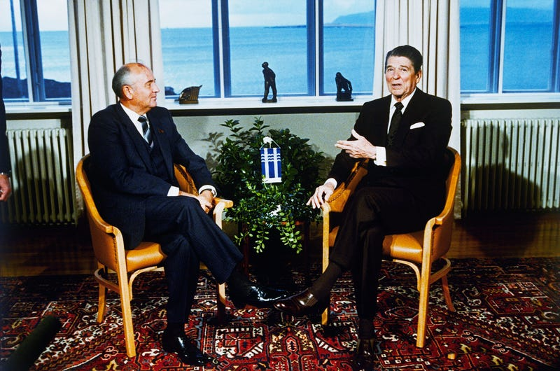 Soviet leader Mikhail Gorbachev and U.S. President Ronald Reagan at the start of a series of talks in Reykjavik, Iceland, on Oct. 11, 1986. (Scott Stewart/AP Images)