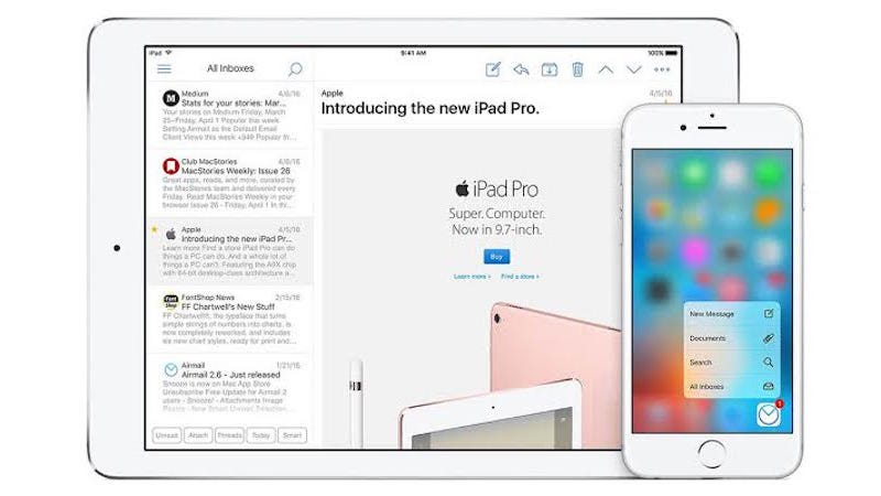 Illustration for article titled Airmail Arrives on iPad, Adds Touch ID Support, Custom Shortcuts, and More