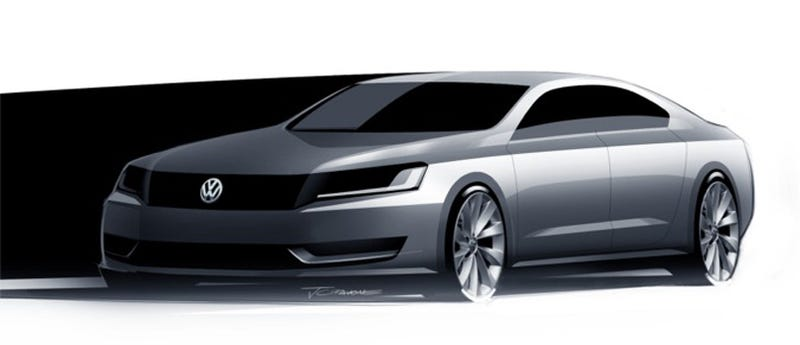 Illustration for article titled Volkswagen's New Mid-Size Sedan: First Look