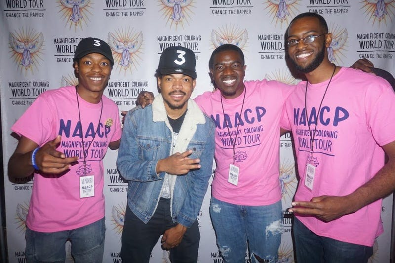 "Chance the Rapper (second left) is set to appear at the NAACP's ""People's Inauguration"" on Jan. 21, 2017.Twitter"