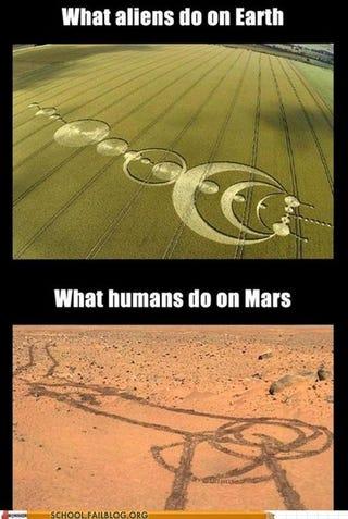 Illustration for article titled Aliens on Earth vs. Humans on Mars....