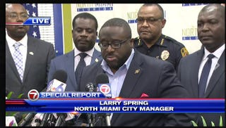 North Miami, Fla., City Manager Larry Spring gives a press conference July 22, 2016, revealing the name of the officer who shot Charles Kinsey on July 18, 2016.WSVN-TV screenshot