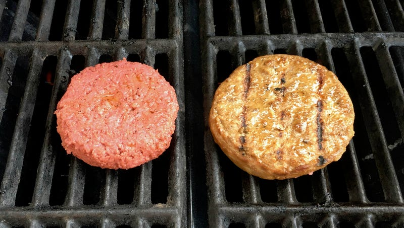 Illustration for article titled Hamburger Creeped Out By Eerie Soy Facsimile Of Itself On Grill
