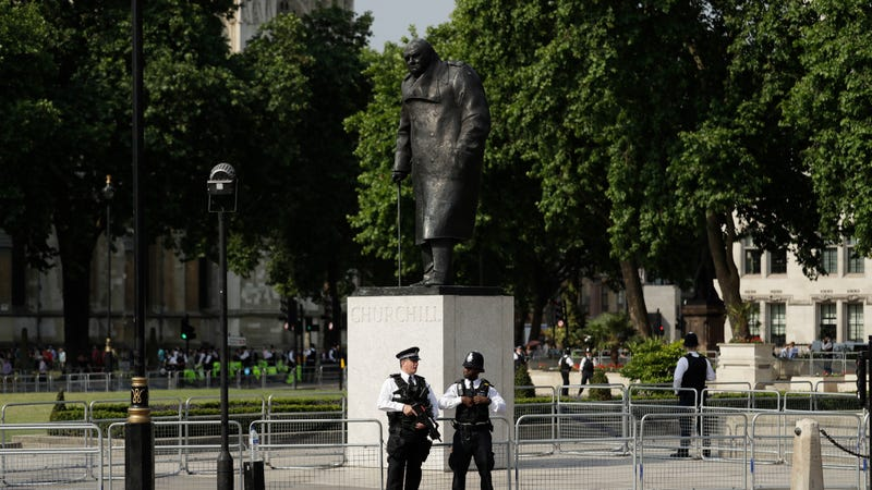 Churchill in Parliament Square. Photo via AP Images.