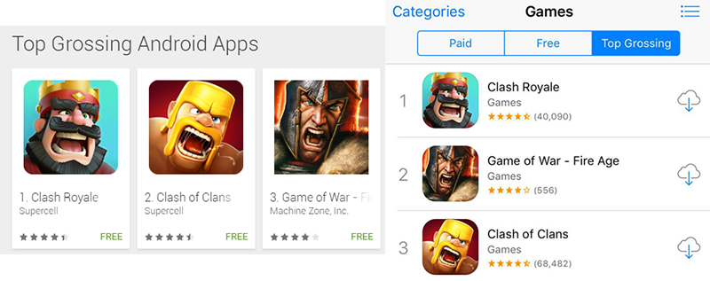 The Top Grossing Mobile Games Are Shouting For Your Money