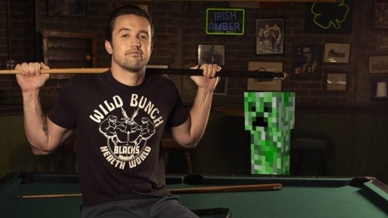Minecraft director Rob McElhenney and one his stars. (Images: FX/Minecraft)
