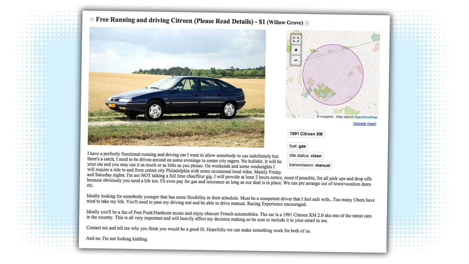 Someone on Philadelphia Craigslist Will Give You a Free ...