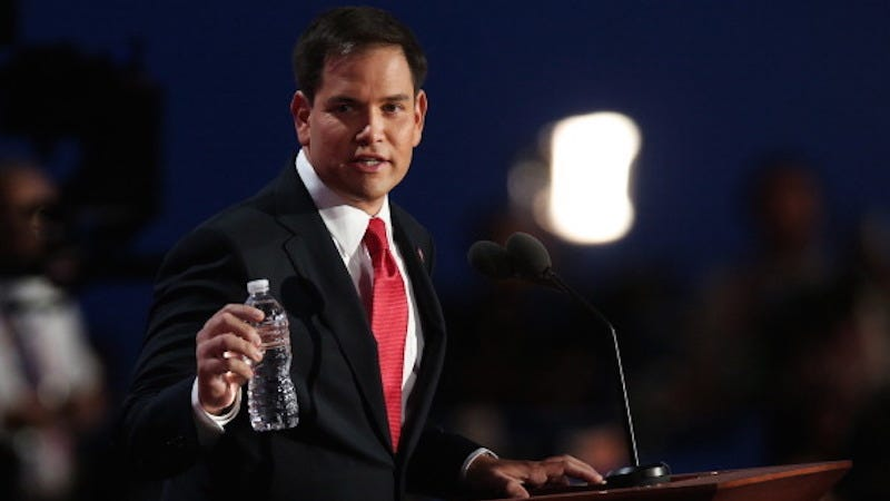 Illustration for article titled Donald Trump Sends Marco Rubio A Thirst-Quenching Care Package