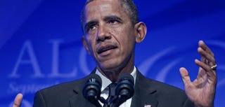President Barack Obama delivers remarks at the Phoenix Awards dinner on Saturday. (Paul J. Richards/AFP/Getty Images)