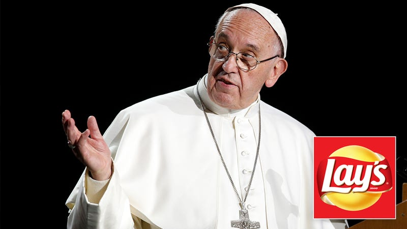 Illustration for article titled Pope Francis Is Aggressively Campaigning On Twitter For'Holy Eucharist'To Win Lay's New Flavor Contest