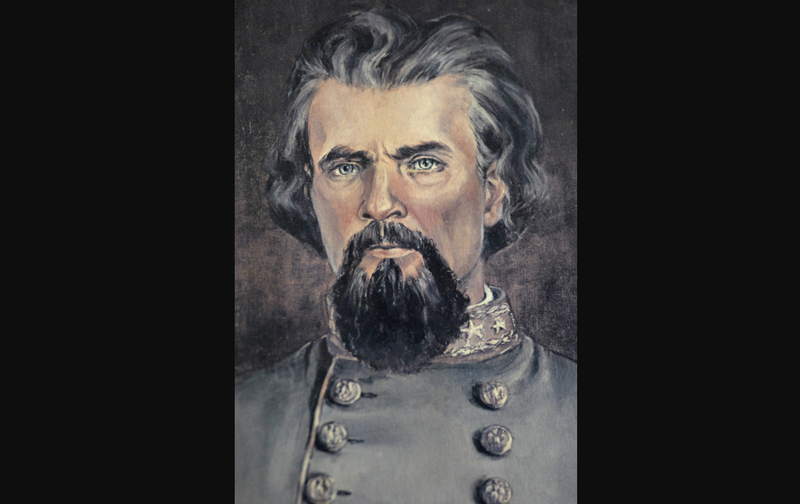 A portrait of Confederate general Nathan Bedford Forrest, who was also the Ku Klux Klan's first grand wizard.