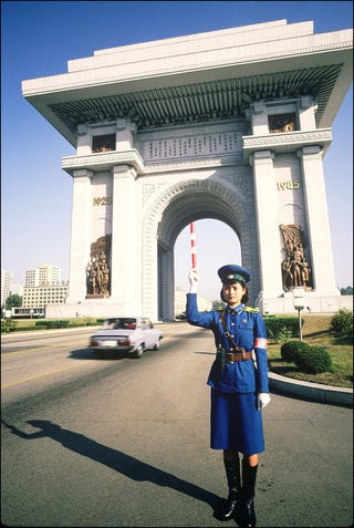 Illustration for article titled Pyongyang Traffic Girls: Traffic Cop Photos