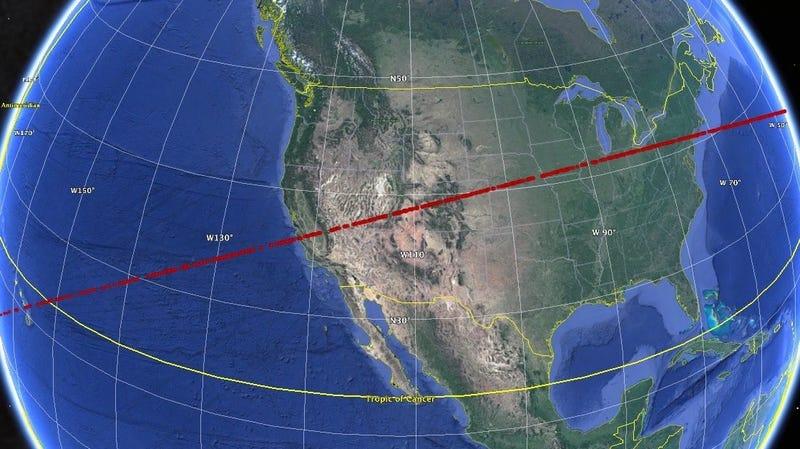 Los potenciales sitios de choque de un asteroide.