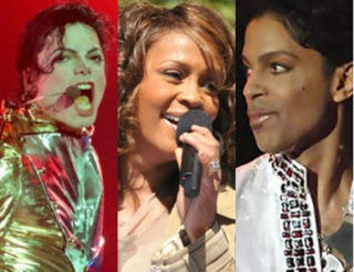 Michael Jackson onstage during his HIStory world tour in 1996; Whitney Houston performing on Good Morning America in 2009; Prince at Coachella in 2008Getty Images/Phil Walter; Wikimedia Commons; Wikimedia Commons